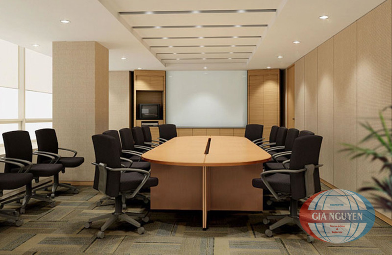 office-workspace-interior-enthralling-meeting-room-design-ideas-with-stylish-bright-brown-wood-oval-shaped-conference-table-and-modern-black-fabric-office-chairs-also-white-ceiling